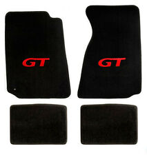 NEW! 1999-2004 Ford Mustang Black Floor mats with GT Logo RED Set of 4 Carpet