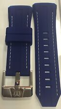 Authentic TechnoMarine Blue Silicone Strap/White Stitching & Silver Buckle 45mm
