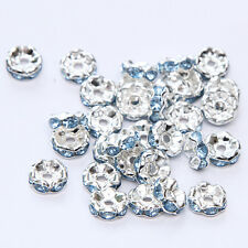 NEW 20pcs 8MM Plated silver crystal spacer beads Findings B&61 FREE SHIPPING