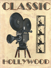 Classic Hollywood Metal Sign, Home Cinema, Movie,Camera, Den Decor