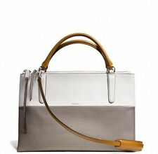 NWT AUTHENTIC COACH Borough Bag Retro Colorblock Tan/White/Grey 32502