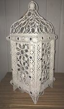 Ivory White Ornate Vintage Jewelled Moroccan Lantern Style Metal Table Lamp NEW