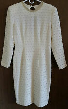 "CARMEN MARC VALVO ""CADIE"" white beaded formal , wedding, long sleeves size 10"