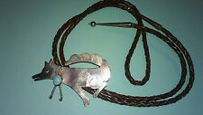 Vintage Sterling Silver Wolf Pendant  Leather Unisex Bolo Necklace