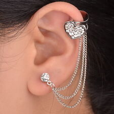 Wedding 1PC Heart Silver Plated Left Ear Chain Stud Wrap Clip Cuff Earring