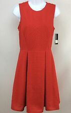 INC Dress 6 Sleeveless Fit Flare Chinese Red Pleated Skirt Womens Size Small New