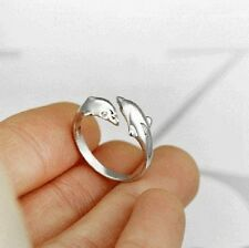 Super cute silver tone twin dolphin ring, UK Size N