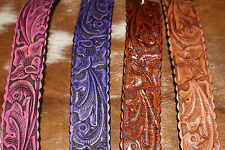 Tooled Leather Horse Bracelet Western Fashion Jewelry Ladies Wide Colors Snap