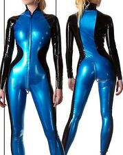latex Rubber Navy blue and Black Catsuit Unique Zipper Bodysuit Suit Size XS-XXL