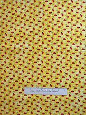 Fabric Traditions - Red Ladybugs & White Hearts on Lemon Yellow - Cotton YARD
