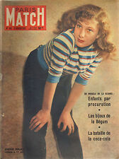 PARIS MATCH N°46 1950 anouk ferjac coca-cola la begum