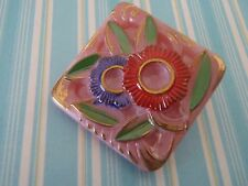 Vintage Pink Glass Button Floral Hand Painted sew craft knit jewelry quilt scra