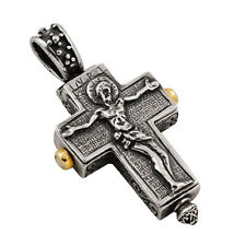 ST101 ~ Sterling Silver Reliquary Crucifix Cross Pendant