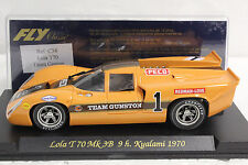FLY C38 LOLA T70 MK 3B 9H KYALAMI 1970 TEAM G NEW 1/32 SLOT CAR IN DISPLAY CASE