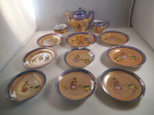 Vintage Made in Japan Children's Tea Set Orange Lustre Circus Cup Teapot