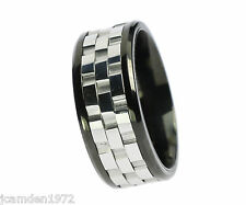Three Part Gear Spinner Two Tone Stainless Steel Mens Ring Size 10
