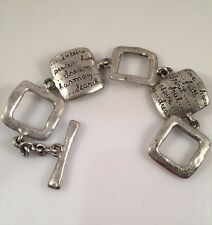 Inspiration Square Link Bracelet Silver-tone Peace Dream Harmony Search Faith