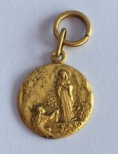 Antique .800 19k Yellow Gold Saint VIRGIN MARY MIRACULOUS Religious Medal Charm
