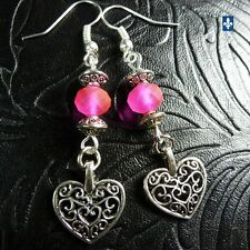 ♥ Adorable Frosted Fuchsia Pink Crystal Plated Silver Heart Pendant Earrings
