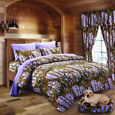 9 PC LAVENDER CAMO COMFORTER SHEET AND CURTAIN SET TWIN  CAMOUFLAGE BEDDING