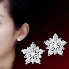 Fashion Womens 925 Sterling Silver Swarovski Crystal Snowflake Ear Stud Earring