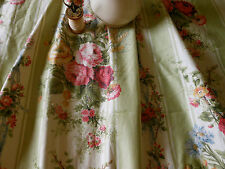 Antique Cottage Roses Garlands Ribbons Bows Polished Cotton Fabric~sage pink