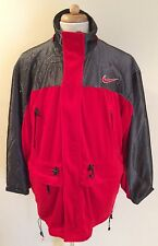 RARE VINTAGE 80's NIKE AIR RED HOODED  VELOUR MESH LONG ZIPPER JACKET SZ XL