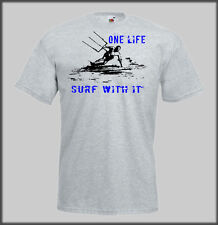 SANCTUARIES EDGE ONE LIFE SURF WITH IT FUNNY  T SHIRT KITESURFING KITE SURFING