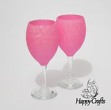 Glitter Top Wine Glasses Set of 2 Pale Baby Pink
