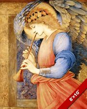 ANGEL PLAYING MUSIC ON A HORN PAINTING BIBLE CHRISTIAN ART REAL CANVAS PRINT