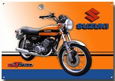 SUZUKI GT 250 CLASSIC MOTORCYCLE ENAMELLED METAL SIGN.GARAGE SIGN.ENTHUSIAST.