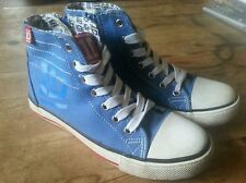 One Direction 1D Blue Canvas High Top Trainer Pump Boots Shoe UK 2.5