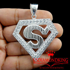 Mens Ladies Solid Sterling Silver 14K Gold Finish Lab Diamond S Pendant Charm