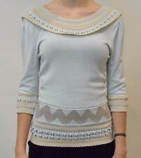 TEMPERLEY LONDON WOMEN SAMPLE LIGHT BLUE KNIT TOP SIZE 8 TO 10         #*