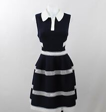 NWT Designer's Remix Navy Blue Peter Pan Collar Sleeveless Poof Dress Size 36/2