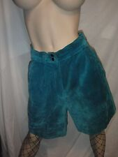 Vintage Savannah Teal Blue Suede Leather Shorts Fully Lined Size 10P Sexy