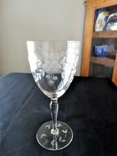 Glastonbury/Lotus Glass Clear Panel Optic Grey Cut 66-1 Water Goblet Wreath Dots
