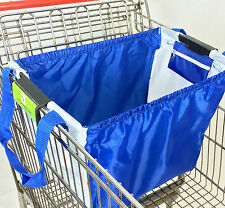 Trolly Shopping Cart Bag, universal clip, royal blue/white original patent
