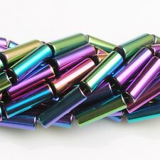 0844 13mm AB Rainbow Hematite titanium tubes loose gemstone beads 16""