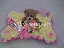 Artificial Silk Funeral Flower Pillow Wreath Teddy Bear Memorial Grave Tribute