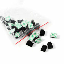 30Pcs Black Adhesive Car Wire Tie Clips Fixer Drop Clamp Cord Clip Cable Holder
