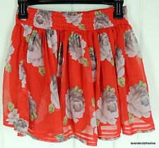 Abercrombie & Fitch S Red Floral Micro Mini Ruffle Flutter Pull On Skirt