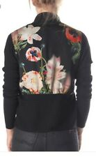 Ted Baker Black Behula Opulent Bloom Wrap Jumper Cardigan Wool Blend size 3 12
