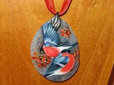 Russian hand painted Natural Stone pendant BULLFINCH BIRDS Gorbachova UNIQUE ART