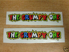 "Valentino Rossi style text - ""THE GRUMPY ONE""  x2 stickers / decals  - 5in x 1in"