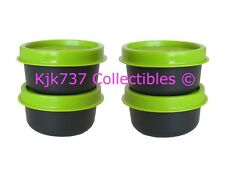 SET RARE 4 BLACK TUPPERWARE SMIDGETS TINY 1 OZ CONTAINERS WITH LIME GREEN SEALS!