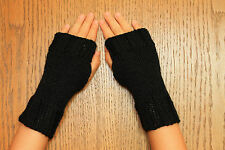 Hand Knit Fingerless Gloves- Wrist Warmers-Texting Gloves-Black