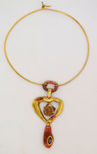 Christian Lacroix Paris signed Necklace Vintage gold rhinestone heart pendant