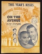 "1937 ""This Years Kisses"" Vintage Movie Sheet Music Irving Berlin ""On The Avenue"""