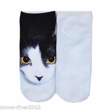 BLACK & WHITE CAT Trainer SOCKS UK Adult Size 3-7, 1 pr KITTEN 3D Digital Print